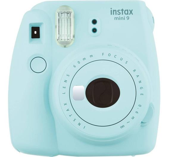 Câmera Fotográfica Instantânea Fujifilm Instax Mini 9 Azul Aqua Com Flash E Espelho Para Selfie