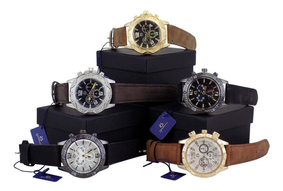 Kit 5 Relógios Masculino Original Couro + Caixa Atacado