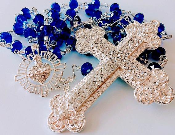 Terço De Cristal Azul Para Noiva E Noivo Promoção