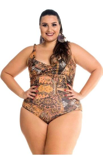 Maiô Para Senhoras Estampado Laranja Maré Brasil