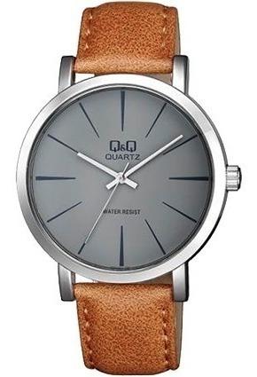 Reloj Q&q Citizen Caballero Gris Sumergible Piel Q892j300y