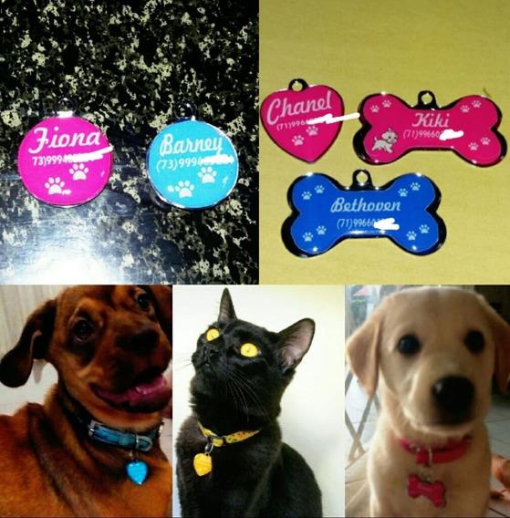 5 Peças Plaquinha De Identificação Pet Personalizada