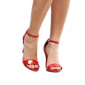 Sandália Salto Fino Alto 9cm Classica Cor Vermelho