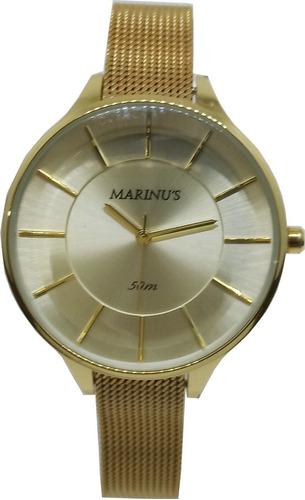 Relógio Feminino Marinus Dourado Esteirinha + Brinde