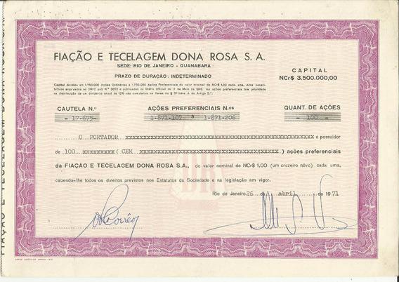 Apólice Fiação E Tecelagem Dona Rosa S.a. 1971