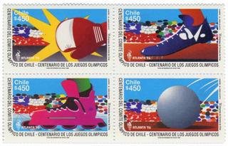 Sellos Block, 4 Sellos, Centenario De Los Juegos Olímpicos..