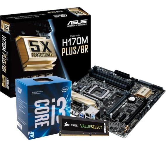 Kit Intel Core I3 7100 Asus H170m Plus 8gb Vs Ddr4 2400mhz I