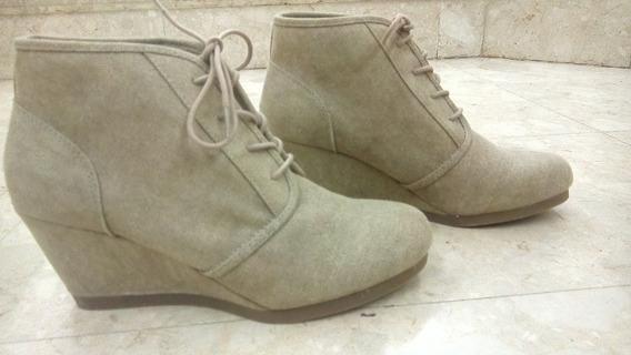 Zapatos Altos Botin Beige