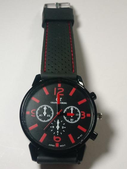 Relógio Masculino Gt Sport Preto E Vermelho Pulseira Silicon