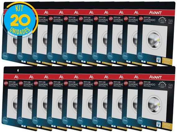 Spot Led 5w Quadrado Luz Amarela Supimpa Avant - Kit Com 20