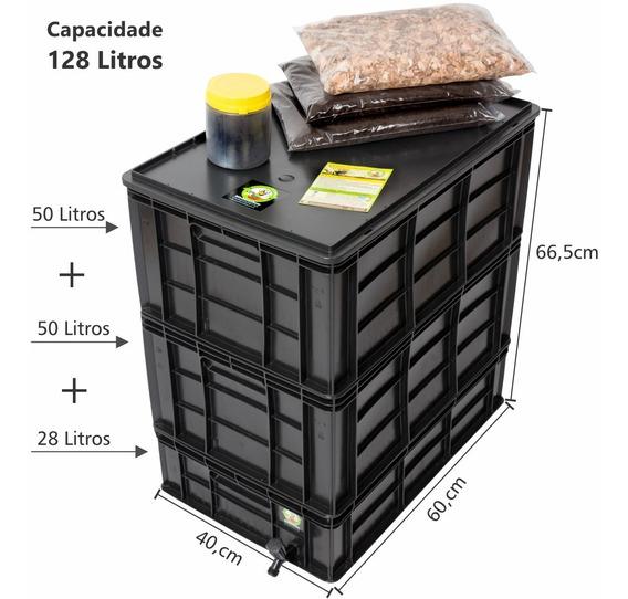 Composteira Doméstica 128 Litros + Minhocas