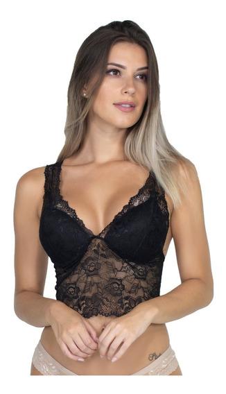 Cropped Renda Alça Larga Moda Trend Bojo Blusa Sutiã 270