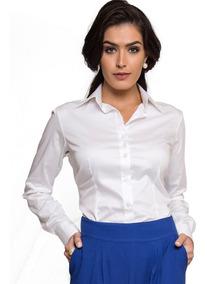 Camisa Social Feminina Básica Branca Principessa Roberta