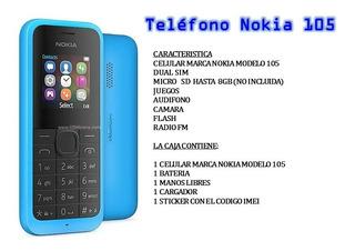 Teléfono Nokia Modelo 105 Doble Sim