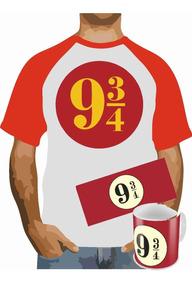 Camisa Raglan + Caneca Harry Potter Estação 9-3/4