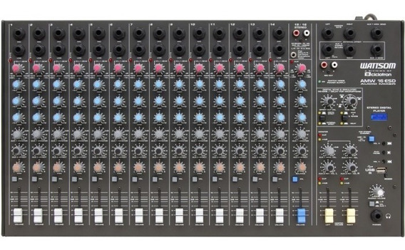 Mesa De Som Stereo Ciclotron 16 Canais Amw 16 Esd Com Efeito