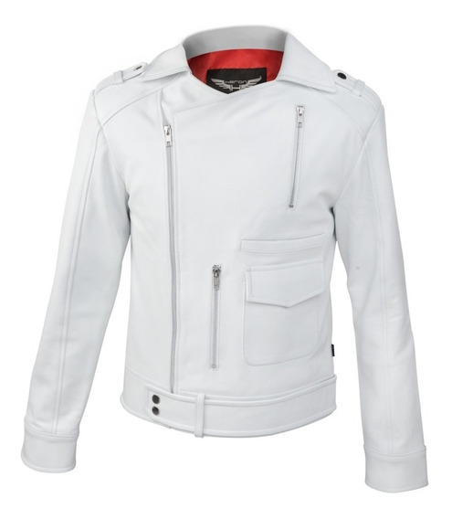 Chamarra De Piel Heron Modelo Kors Color Blanco Slim Fit