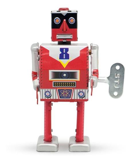 Robot A Cuerda De Hojalata Retro Tin Toy Laser 8 Gato