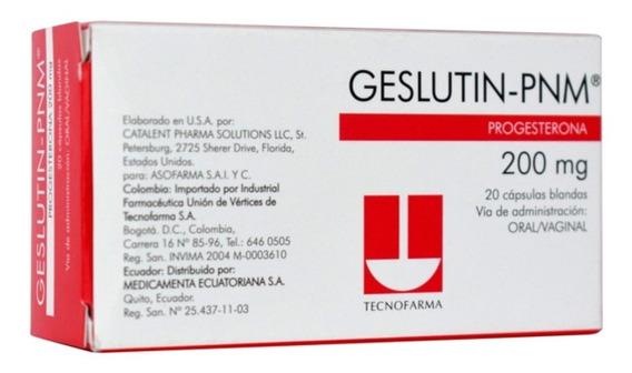 Progesterona Para Dama- Geslutin 200mg/20 Unidades