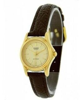 Elegante Reloj Casio Dama Dorado Ltp1096q Pulso Cuero Mujer