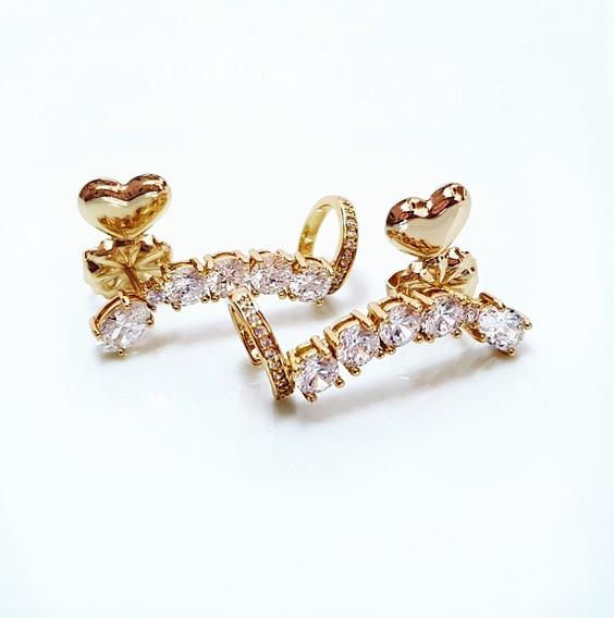 Brinco Feminino Ear Cuff Noiva Pedra Zirconia Tarraxa Mágica Banhado Ouro Semi Joia