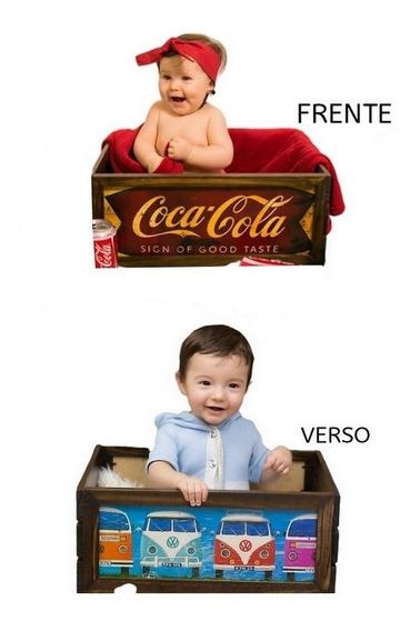 Caixote Coca Kombi Prop Foto Newborn Acompanhamento Bebê