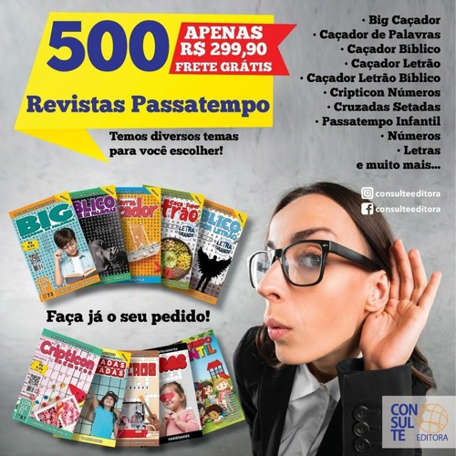 Imagem 1 de 1 de Kit 500 Revistas Passatempo - Diversos Temas