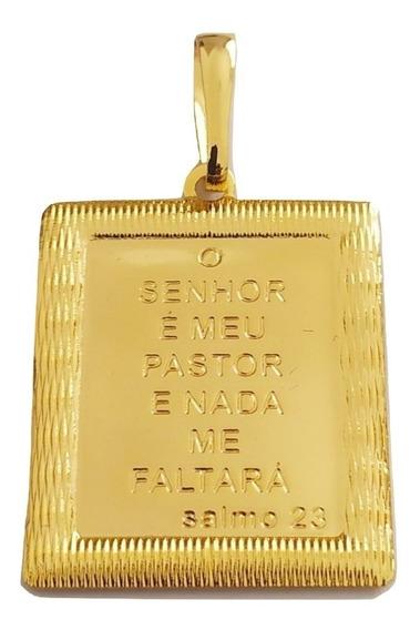Pingente Rellicari Placa Salmo 23 Banhado A Ouro R019