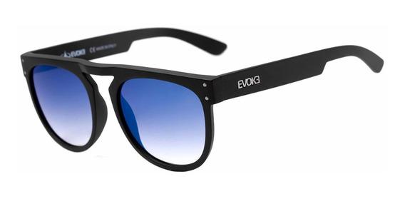Oculos Sol Evoke Ghost A11s Preto Fosco Lente Azul Espelhada