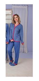 Pijama Roupa Dormir Manga Longa Feminino Inverno