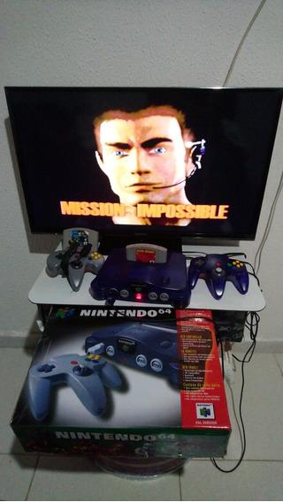 Nintendo 64 Com 2 Controles E 2 Jogos