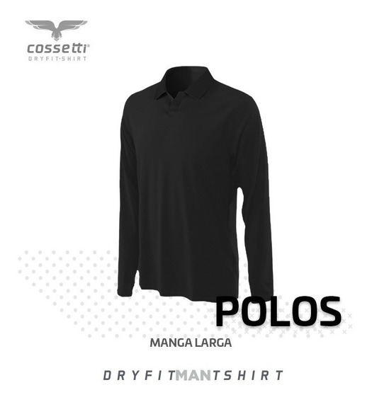 Playera Tipo Polo Cossetti Manga Larga Dry Fit Mujer Xl, 2xl