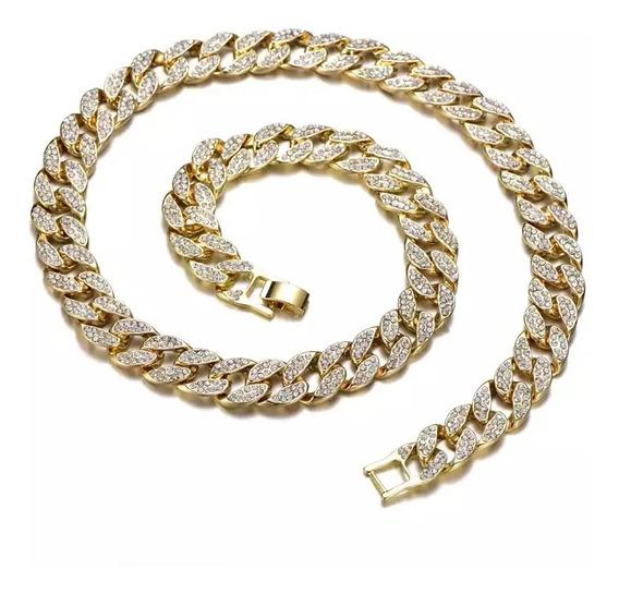 Colar Corrente Cravejado Zircônia Ouro Prata Hype Trap