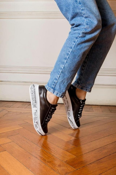 Zapatillas Sneakers Bajas Con Plataforma Estampada