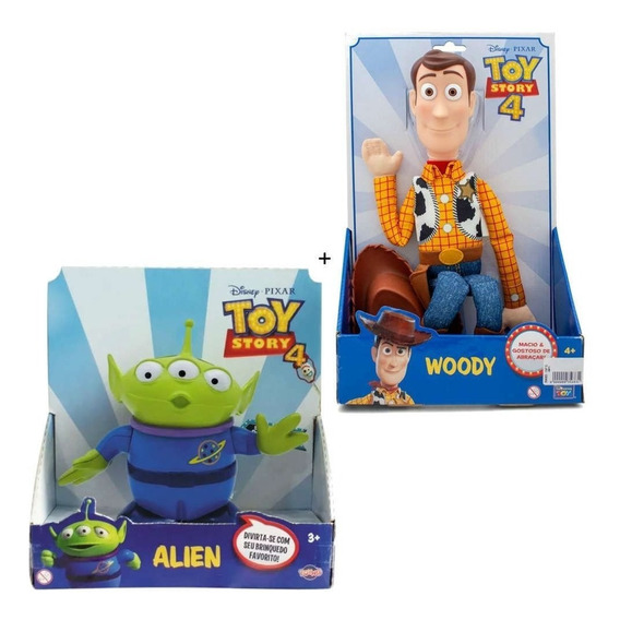 Kit Toy Story Com Boneco Woody + Boneco Alien Novo