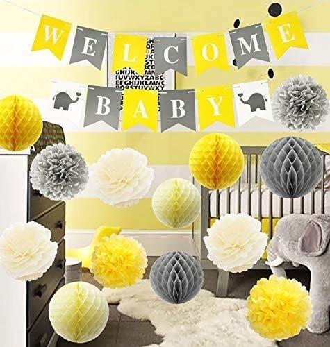 Decoraciones De Baby Shower De Elefante Gris Amarillo Furuix
