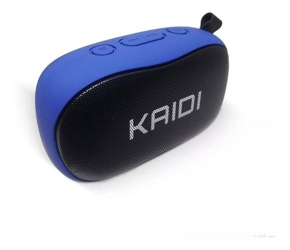Caixa De Som Wireless Kaidi Azul Com Radio Fm Escritorio