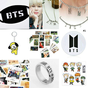Máscara Bts Kpop + Colar Army + 30 Polaroids + 60 Photocards