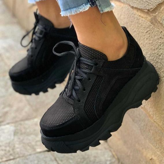 Tenis Feminino Casual Bufalo Salto 6cm Em Couro Sneaker Top