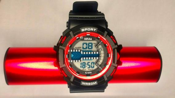 Relógio Digital Xj 879 Vermelho (original) A Prova D