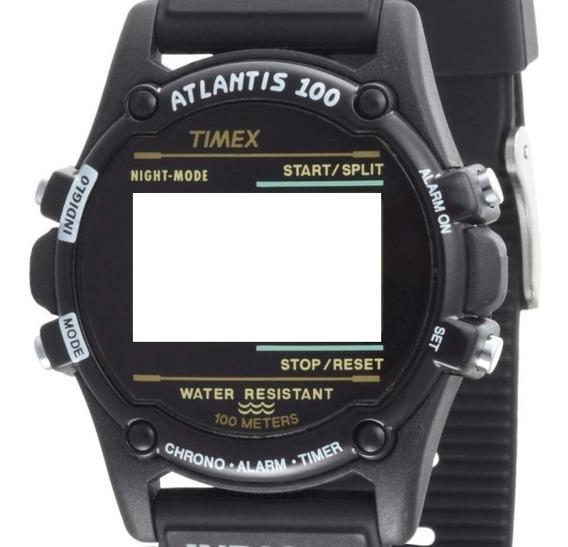 Caixa Nova Do Relógio Timex Atlantis Preta Completa C/tampa