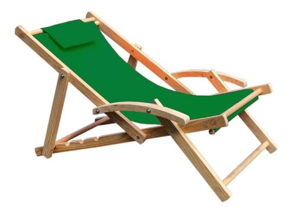 Silla Playa Camastro Repsoera Plegable Madera Pino Y Tela