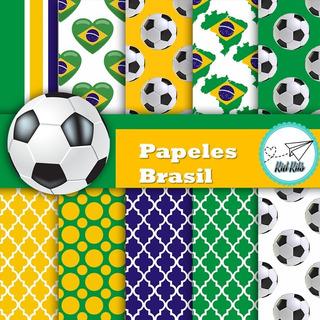 Kit Imprimible Pack Fondos Seleccion Brasil Bandera Kdkt 077