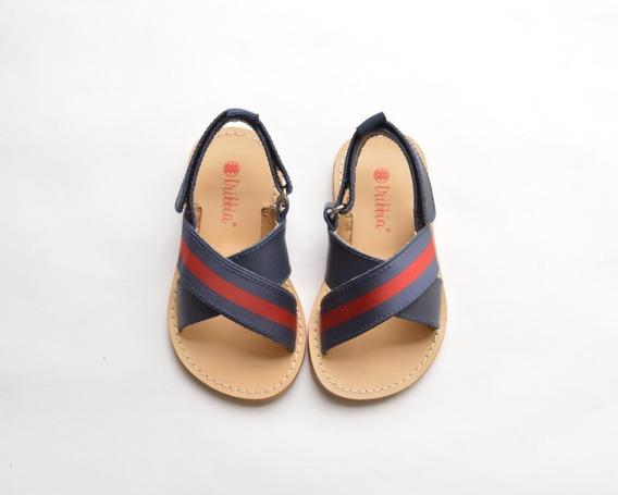 Sandalias De Nene Color Azul En Cuero