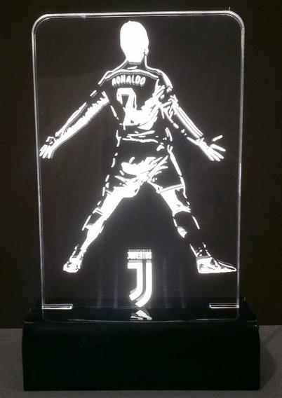 Luminária Cr7 Abajur Em Acrílico Led - Cristiano Ronaldo