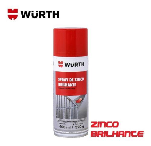 Imagem 1 de 4 de Spray Zinco Brilhante Anticorrosivo Chapas Wurth 400ml