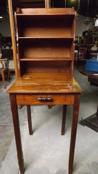 Escrivaninha De Canto Antiga Em Madeira # 3790