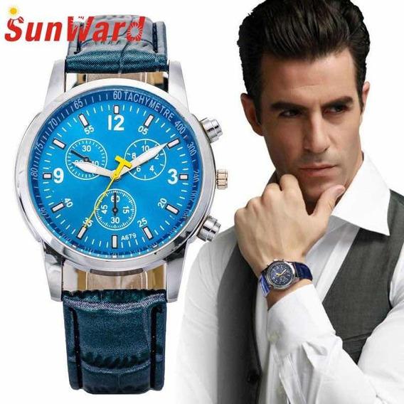 Relógio Luxo Elegante Faux Couro De Crocodilo