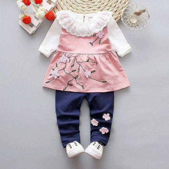 Conjunto Infantil Flowers - Blusa Manga Longa, Bata E Calça