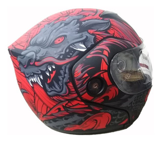 Casco Abatible Para Moto Dragon Rojo Certificado Dot